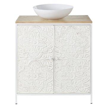 Waschtisch mit 2 Türen aus Mangoholz und weißem Metall mit Schnitzereien Kaloa