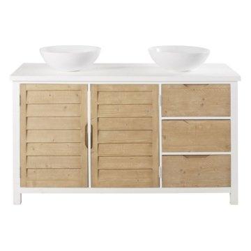 Waschtisch mit 2 Waschbecken, 2 Türen und 3 Schubladen aus Fichtenholz Esterel