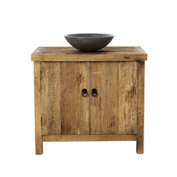 Waschtischmöbe, aus gealtertem recyceltem Ulmenholz und Blaustein Lotus