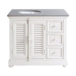 Waschtischmöbel aus Weißen Mangoholz und Stein Castille