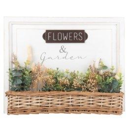 Weißer Kunstdruck und geflochtener Blumenkasten mit künstlichen Pflanzen  50x40