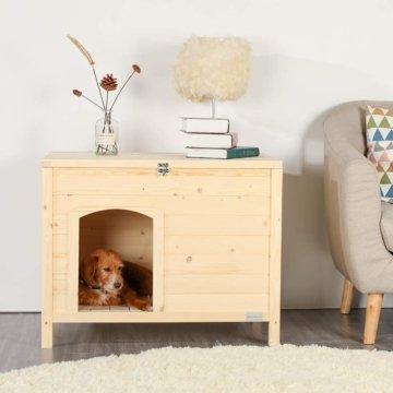 Hundehütte indoor aus Holz für kleine Hunde ohne Montage