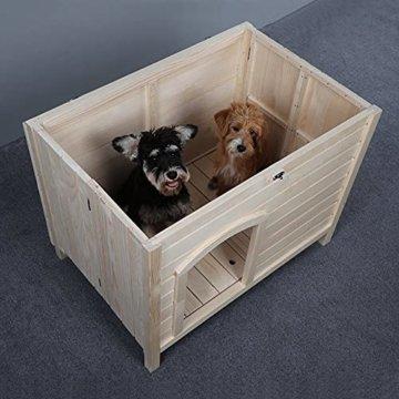 Hundehütte indoor aus Holz für kleine Hunde ohne Montage -