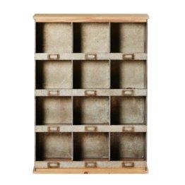 Regal mit 12 Ablagefächern aus Tannenholz und Metall