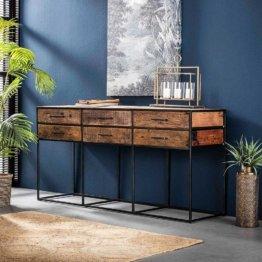Schubladen Sideboard aus Hartholz und Stahl 160 cm breit