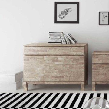 Wohnzimmer Sideboard aus Eiche Massivholz Weiß geölt