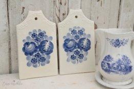2 Vintage Keramik Frühstücksbrettchen Shabby Chic