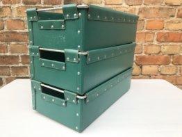 3Er Set Grüne Kisten Boxen Vulkanfiber 45x25x13 cm Kästen Industrie Design Alt Vintage Shabby Chic