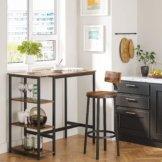 VASAGLE Bartisch rechteckig, Stehtisch mit 3 Regalablagen, Küchentisch, Küchentresen, stabiles Metallgestell, 109 x 60 x 100 cm, einfacher Aufbau, Industrie-Design, Vintage, Dunkelbraun LBT11X