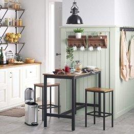 VASAGLE Barhocker 2er Set, Barstühle, Küchenstühle im Industrie-Design, mit Fußstütze, für Küche, Wohnzimmer, Partykeller, Vintage, Dunkelbraun LBC65X
