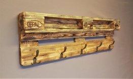 Garderobe Holz Aus Palette Mit Aufhängung Incl. 5 Kleiderhaken Palettengarderobe Wandregal Ablage Vintage Regal Haken Palettenmöbel