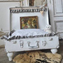 Hundebett, Katzenbett, Kofferbett, Koffer, Kissen, Shabby Chic, Vintage, Hund, Katze