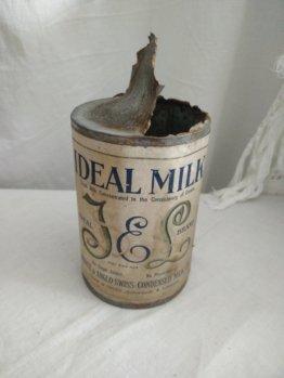 Ideale Milchdose, Ca 1940, Pflegepaket, Kriegskonzentrierte Seltener Fund, Brocante, Shabby Chic, Ww2, Wwii, Usa, Nachkriegs
