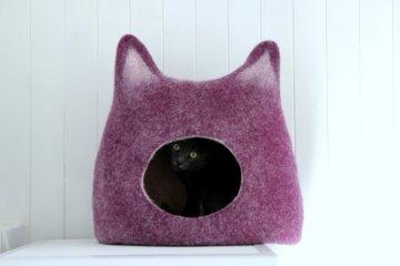Katzenliebhaber Geschenk. Wolle Katzenbett. Filz Katze Höhle. Katzenhaus