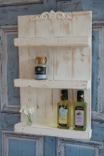 Landhaus Gewürzregal Regal Zelda, Shabby Chic, Holz, 57 cm, Handgefertigt