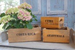 Landhaus Holzkisten 3 Er Set Cuba/Costa Rica Guatemala Im Shabby Chic Used