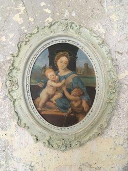 Malerei Kopie Madonna Raffael Kunst Stuckrahmen Pappe Shabby Chic Wandkunst Dekoration Art Alte Meister Brocante