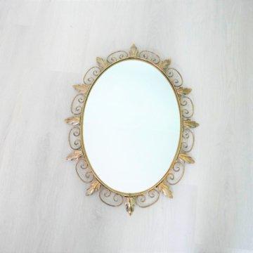 Spiegel - Grote Ovale Sunburst Goudkleurige Traf Acanthus Blaadjes 1960Er Jahre Belgien