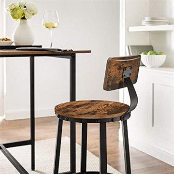 VASAGLE Barhocker, 2er Set Barstühle, Küchenstühle mit stabilem Metallgestell, Sitzhöhe 73,2 cm, einfache Montage, Industrie-Design, vintagebraun-schwarz LBC026B01 -