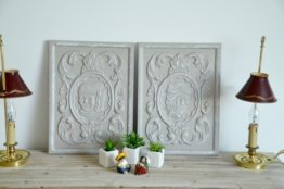 Viele 2 Alte Dekorative Platten Patiniert Taupe, Schäbige Chic Stil