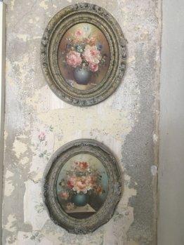 Vintage Kunstdrucke E. Green Blumenstillleben Rahmen Romantic Shabby Nostalgie Wandkunst Dekoration