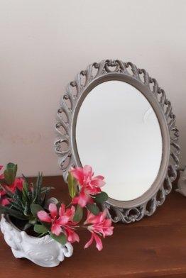 Vintage Ovale Spiegel Mit Schlittschuh Grau , Shabby Chic