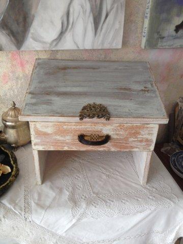 Vintage Schuhputzbox Schuhputzkasten Holzkasten Schuhputzkiste Zierelement Bakelitgriff Shabby Chic Rustic Landhaus