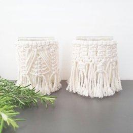 2Er Set Makramee Windlicht | Teelicht Kerzenhalter Boho Design Dekoration