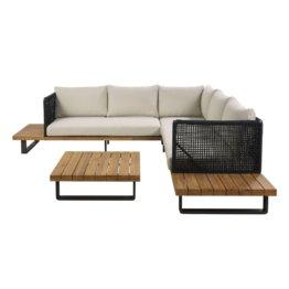 5/6-Sitzer-Gartensitzgruppe aus beigem Stoff und massivem Akazienholz Touraco