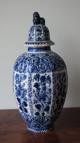 Antike Delft Vase Handbemalt Mit Deckel Ingwer Jar
