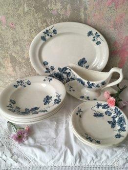 French Shabby Konvolut Geschirr Blau Weiße Keramik Chic Landhaus Floral Steingut Antike Farmhouse Landhausküche