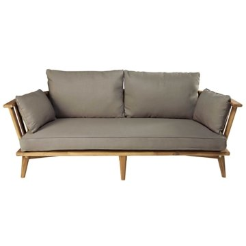 Gartenbank 2/3-Sitzer aus massivem Akazienholz und taupefarbenen Kissen Noumea