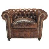 Gepolsterter Sessel aus braunem Leder Chesterfield