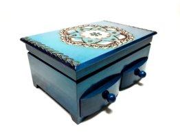 Holz Blau Schmuck-Box Mit Schubladen Und Spiegel, Mini Kommode Handgeschnitzte Schmuck-Box, Dekorative Box