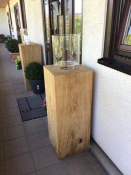 Holzklotz Massiv Eiche Deko Klotz 40 X 40cm Holzblock Eichenklotz Beistelltisch Für Aussenbereich Windlicht