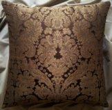 Kissen Bezug Seide Brocatelle Rubelli Stoff Braun Und Gold Tebaldo Muster - Made in Italy