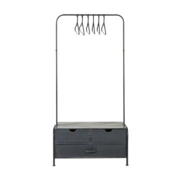 Metallgarderobe mit 3 Schubladen und 6 Kleiderbügeln, schwarz