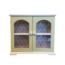 Shabby Chic Kommode in Weiß Grün Glastüren