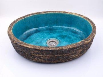 Ungewöhnliches Ovales Becken Aus Ton, Türkisfarbenes Becken, Einzigartig
