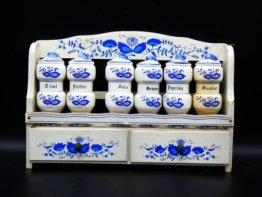 Vintage Deutsche Holz Gewürz Rack Display Schrank Kräuter Und Aussehen Kunststoff Delfts Blauw Stil