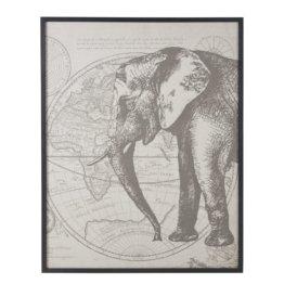 Wanddeko aus Leinen mit Elefanten-Druckbild 105x130