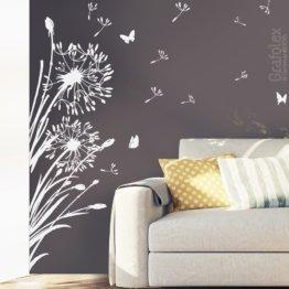 Wandtattoo Pusteblume +25 Flugsamen + Schmetterlinge - Löwenzahn Wandsticker Wandaufkleber Wohnzimmer Schlafzimmer Wall Decal Vinyl W322