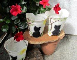 Windlicht Gefilzt Katze Kerzenglas Filzwindlicht
