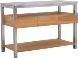 Teako Design 135 cm Arbeitstisch Rivera mit Edelstahl 3 Schieber Outdoorküche