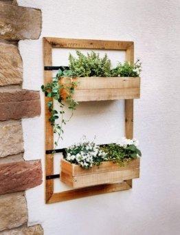 Wand-Pflanzer Industrial aus Holz, mit 2 Blumenkästen, für Balkon, Terrasse, Garten