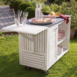 Gartenschrank Rollwagen - Beistelltisch - Outdoor-Küche - Holz Granit - Weiß Grau - ca. B114 x T55 x H85 cm