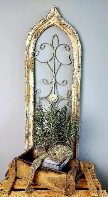 DEKOFENSTER Weiß Shabby Vintage Stil 93 x 30 cm