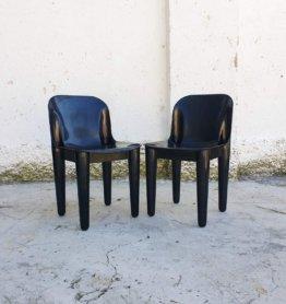 Paar Mid Century Modern Garten Stühle/Casa 70 Produziert Von Dalvera Italien Vintage Schwarz Kunststoff Space Age Design 70Er Jahre