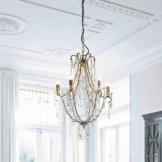 Leuchter Kirton, Eisen, Prismen: Glas, H/Ø ca. 83/60 cm, champagner