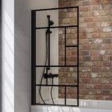 schwarz-matt, Duschabtrennung für Badewanne Loft, industrial